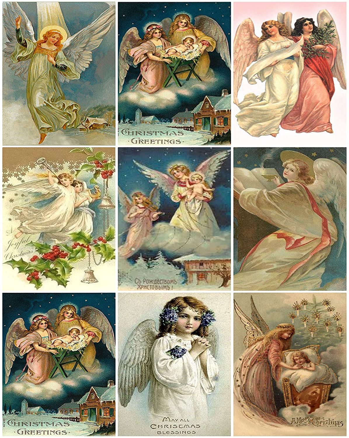 Victorian Vintage Angels Christmas Card Collage Sheet 8.5 x 11 Paper Moon Media