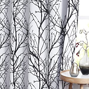 """Fmfunctex Black White Blackout Curtains 84"""" Tree Branch Print Curtain Panels for Bedroom Thermal Insulated Grey Curtain Liner for Living Room Guest Basement Kitchen Patio Grommet Top 50"""" w x 2pcs"""