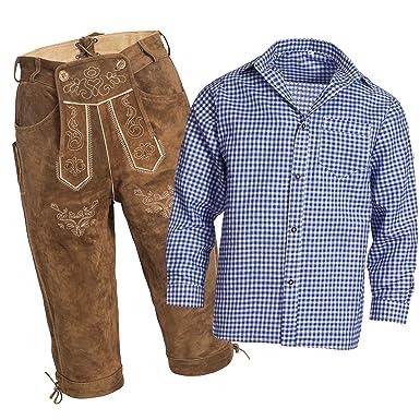 73be6dce1696a Gaudi-Leathers, Homme Set Pantalon en Cuir Traditionnel Kniebund Brun Clair  46 + Bretelles