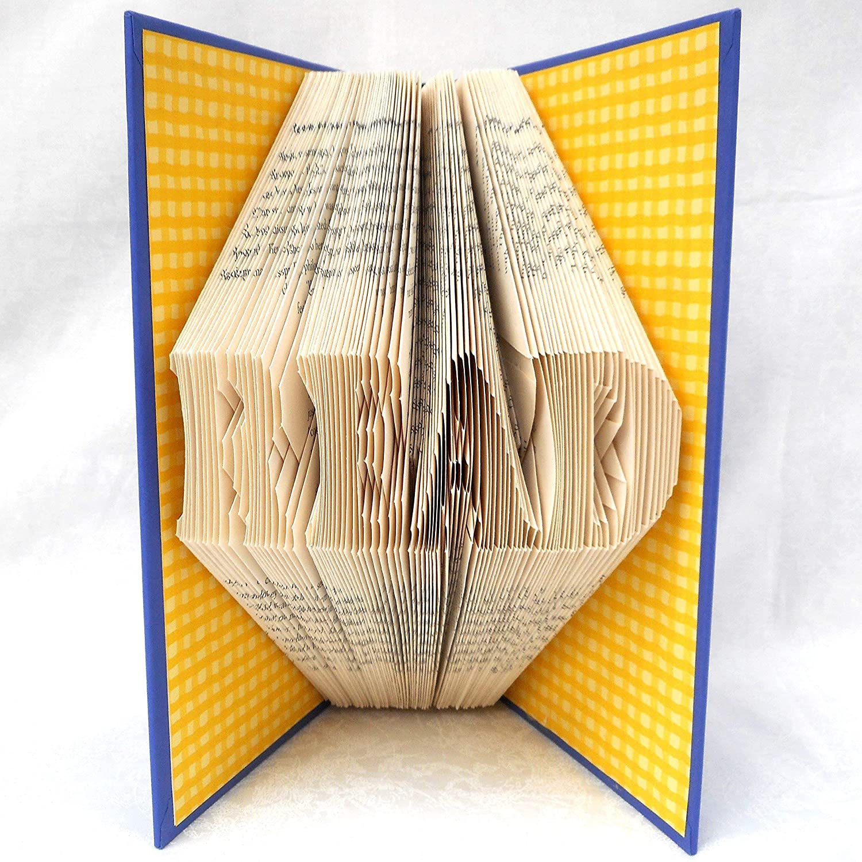 Hand Folded Book Art Sculpture, READ, Unique 1st Anniversary Gift for Bookworm Librarian Teacher