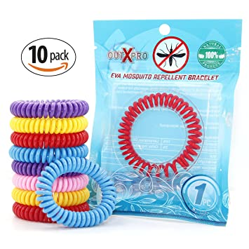 OUTXPRO 10 Natural Mosquito Insect Repellent Bracelets   Family Pack   No  Deet Pest Control Bug