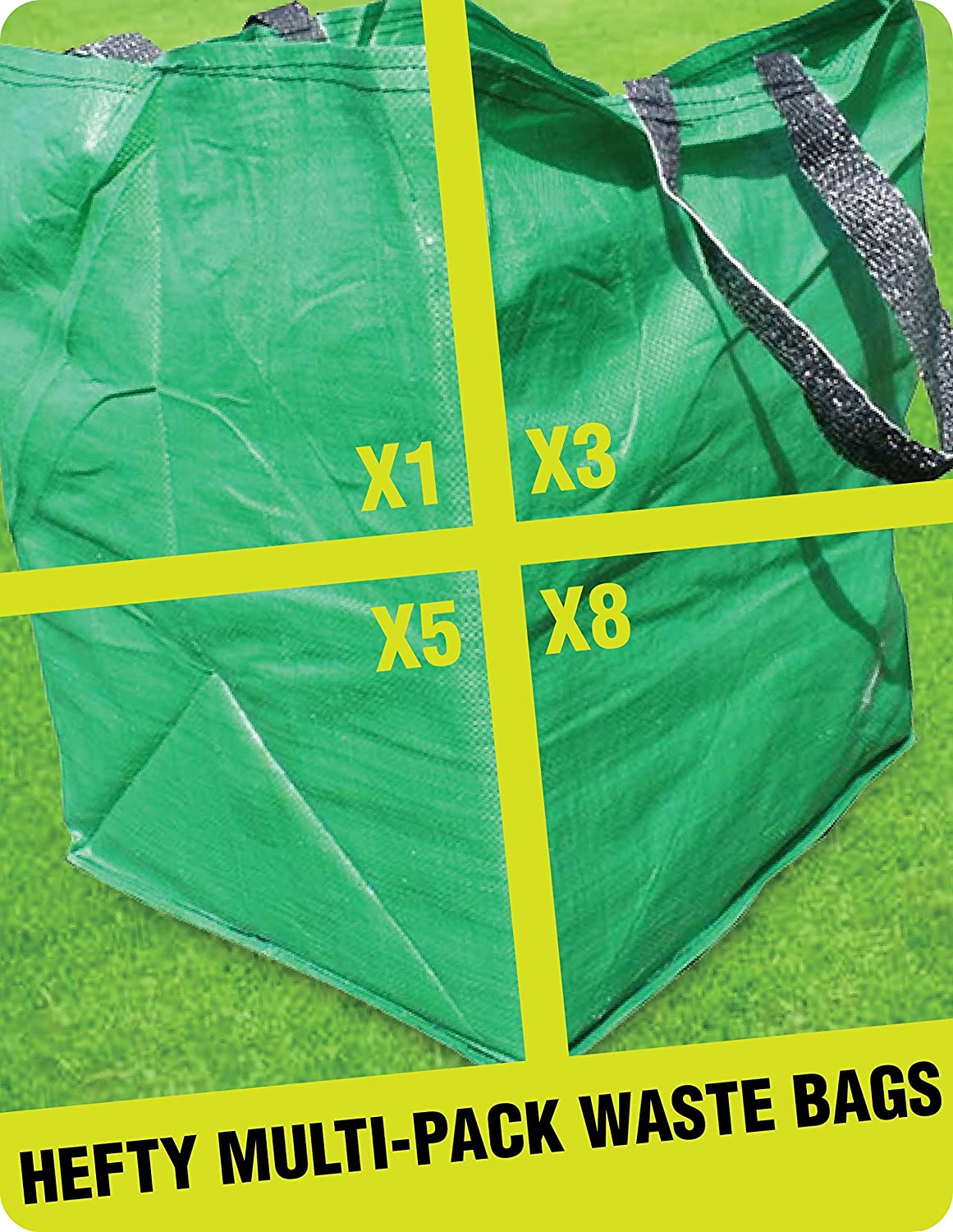 3 X GARDEN WASTE CUBE BAGS - Best Multipurpose HEFTY Reusable Sack Storage Bag For The Disposal Of Leaves, Weeds & Grass Cuttings - (136 Litre Capacity) (3) Rapid Spirit