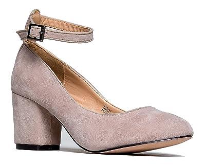 Women's Dress Pump Sandal Ankle Strap Shoes Mid Block Heel Suede Upper Casual