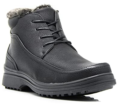 RU3N Men's Winter Cold Weather Snow Boots With Fur Fleece Lining Lace Up Shoes