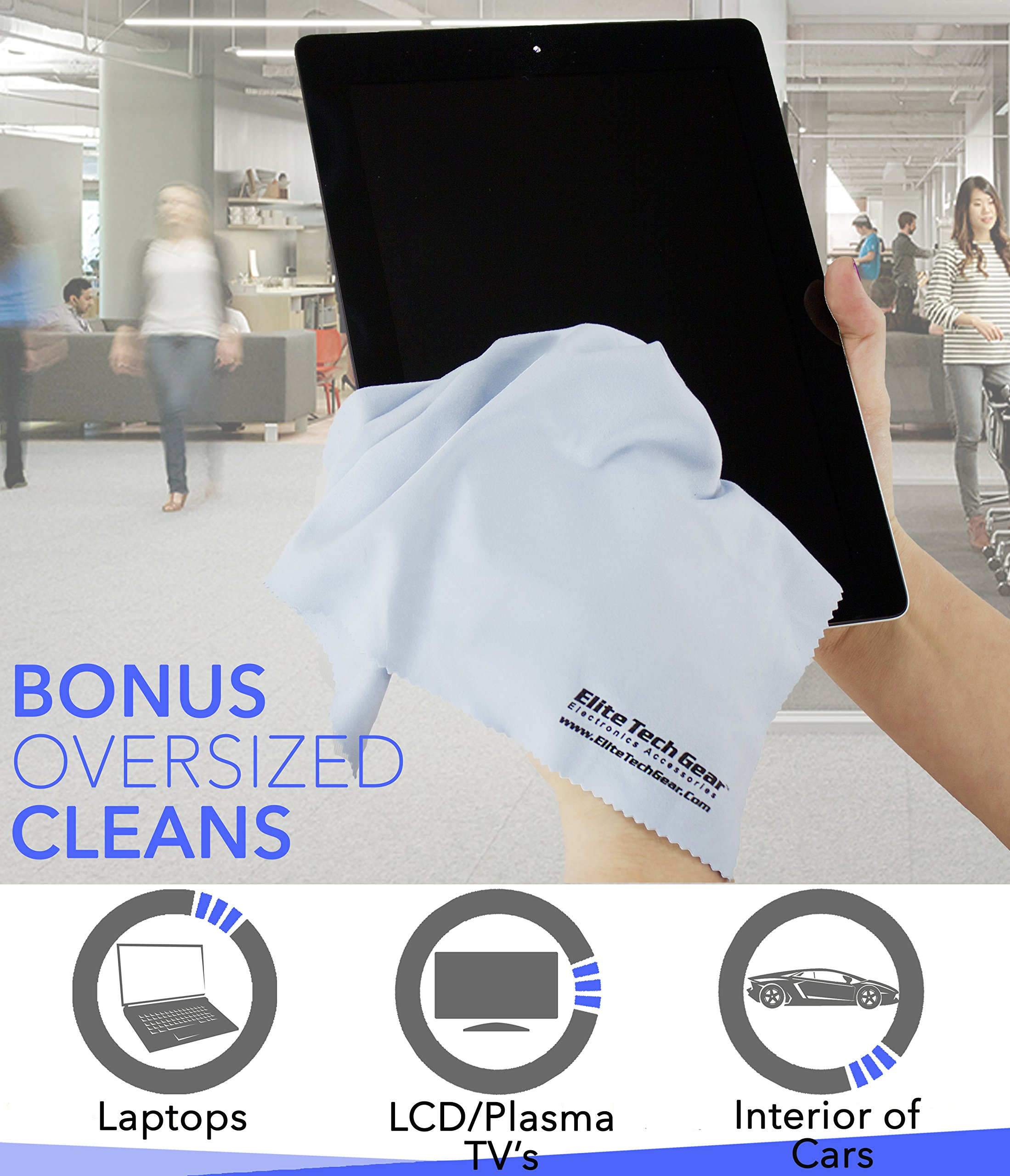 "The Most Amazing Microfiber Cleaning Cloths (13 Pack). Perfect For Cleaning All Electronic Device Screens, Eyeglasses, Tablets & Other Delicate Surfaces (12 Large 6''x7"" & 1 Oversized 12''x12"") by Elite Tech Gear (Image #2)"
