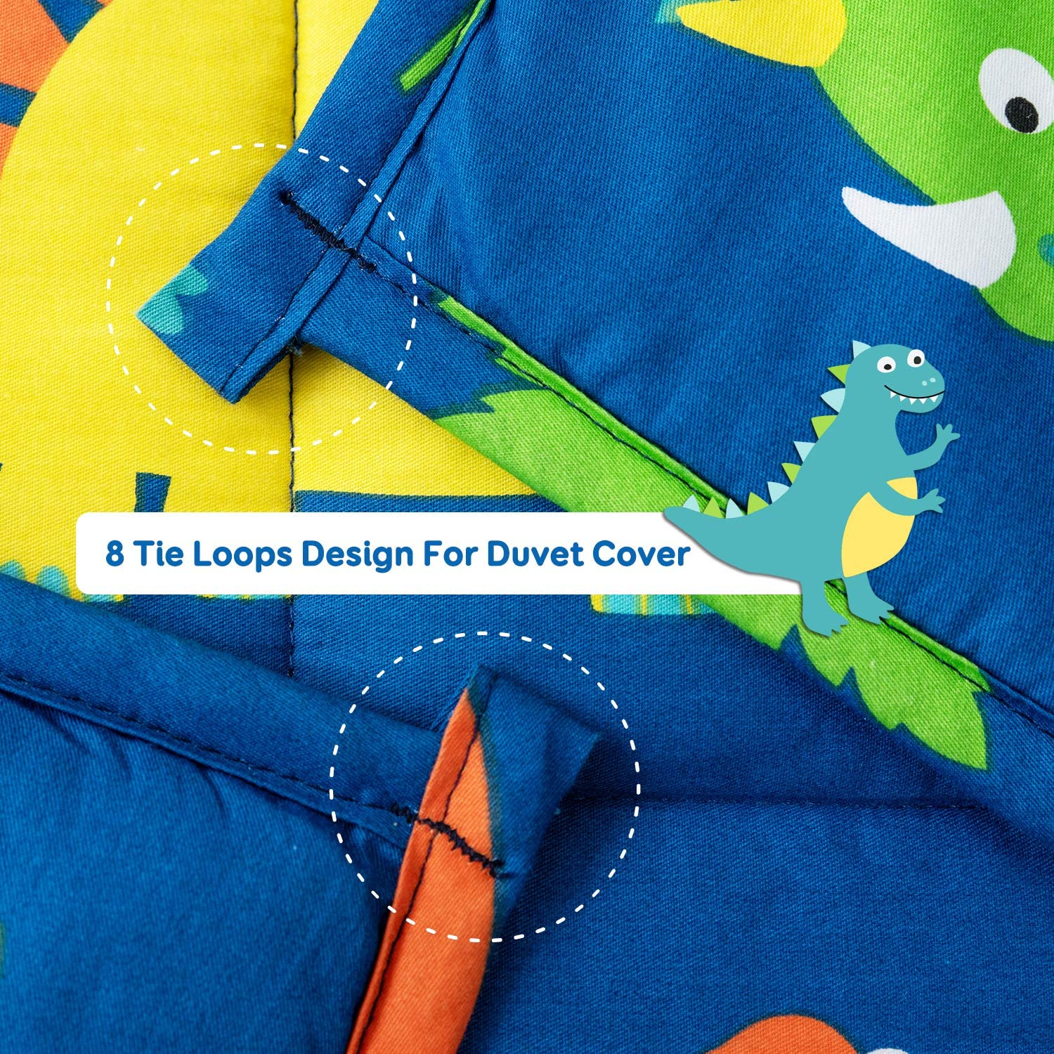 Topblan Kids Weighted Blanket 7 lbs 41x60 for Kids and Teens Blue Dinosaur 100/% Natural Cotton with Premium Glass Beads Calming Kids Mind and Sleep Well
