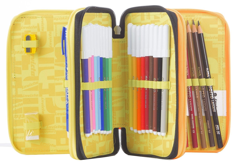 Estuche Escolar 3 Pisos - - INVICTA - KUPANG - - Multi Compartimentos con lápiz, rotuladores, boligrafos.Negro Amarillo b4bb0d