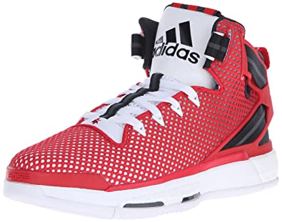adidas Performance Men's D Rose 6 Boost Basketball,White/Scarlet/Black,7.5