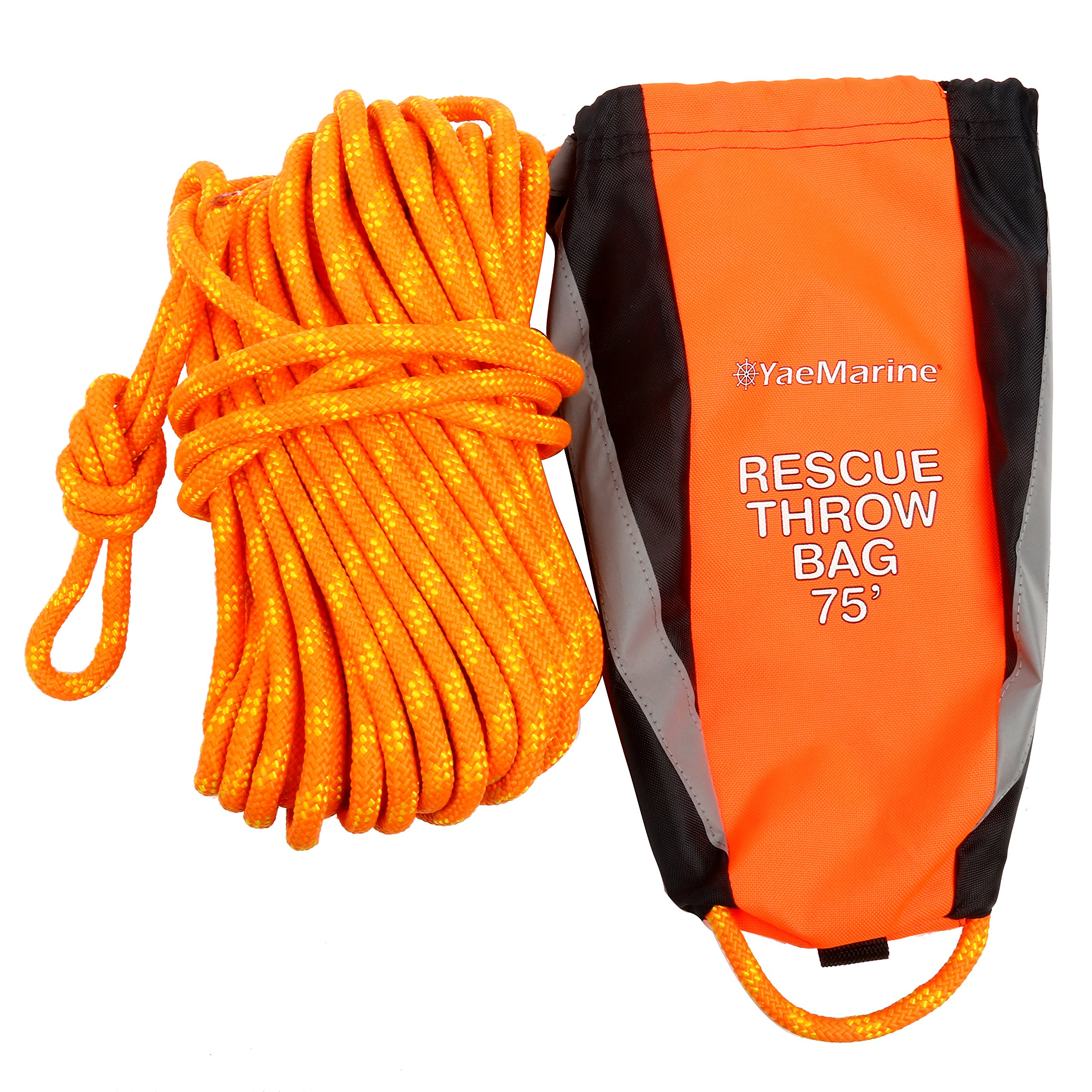 YaeMarine Rescue Throw Bag with 75 Feet Floating Rope for Boating Kayaking Ice Fishing Sailing