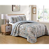 Luxury Home Collection 3 Piece Full/Queen Quilted Reversible Coverlet Bedspread Set Floral Printed Blue Taupe