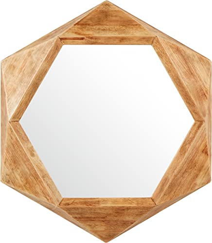 Amazon Brand Rivet Modern Hexagon Wood Frame Hanging Wall Mirror, 30 Inch Height, Natural
