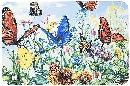 Ordinaire Butterfly Flower Garden Washable Plastic Vinyl Placemats Set Of Four