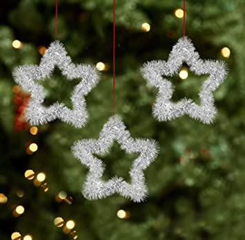 New Christmas Tree Decoration 3D Glitter /& Metallic Star Baubles Pack Of 48
