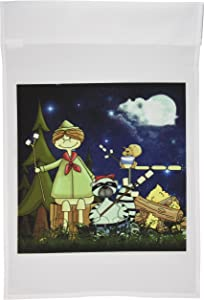 3dRose fl_101838_1 Boy Scout Camper in The Woods with a Squirrel and Marshmallows Garden Flag, 12 by 18-Inch