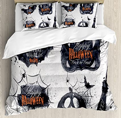 ambesonne vintage halloween duvet cover set queen size halloween symbols happy holiday witch lives here