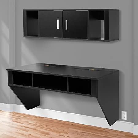 Best Choice Products Designer Wall Mounted Floating Computer Study Desk w Hutch Cabinet Storage – Black
