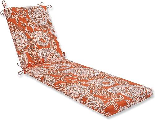 Pillow Perfect Outdoor Indoor Addie Terra Cotta Chaise Lounge Cushion, 80 x 23 , Orange
