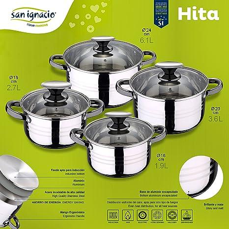 San Ignacio Bateria de Cocina 8 Piezas-Acero Inoxidable-Tapas de Vidrio-Apta para inducción-Colección Hita, Ø16; Ø18; Ø20 y Ø24 cms.