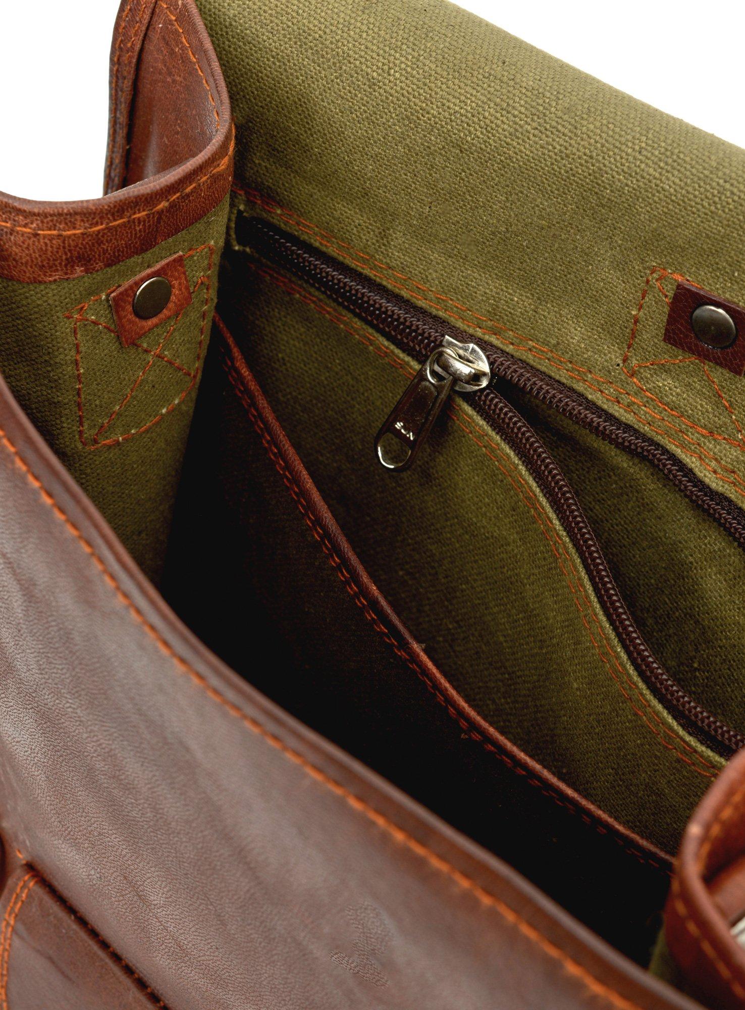 81stgeneration Men's Women's Genuine Large Leather Vertical Messenger Style Backpack Shoulder Bag by 81stgeneration (Image #4)