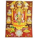 Bild Lakshmi 30 x 40 cm Gottheit Hinduismus Kunstdruck Plakat Poster Gold Religion Spiritualität Dekoration