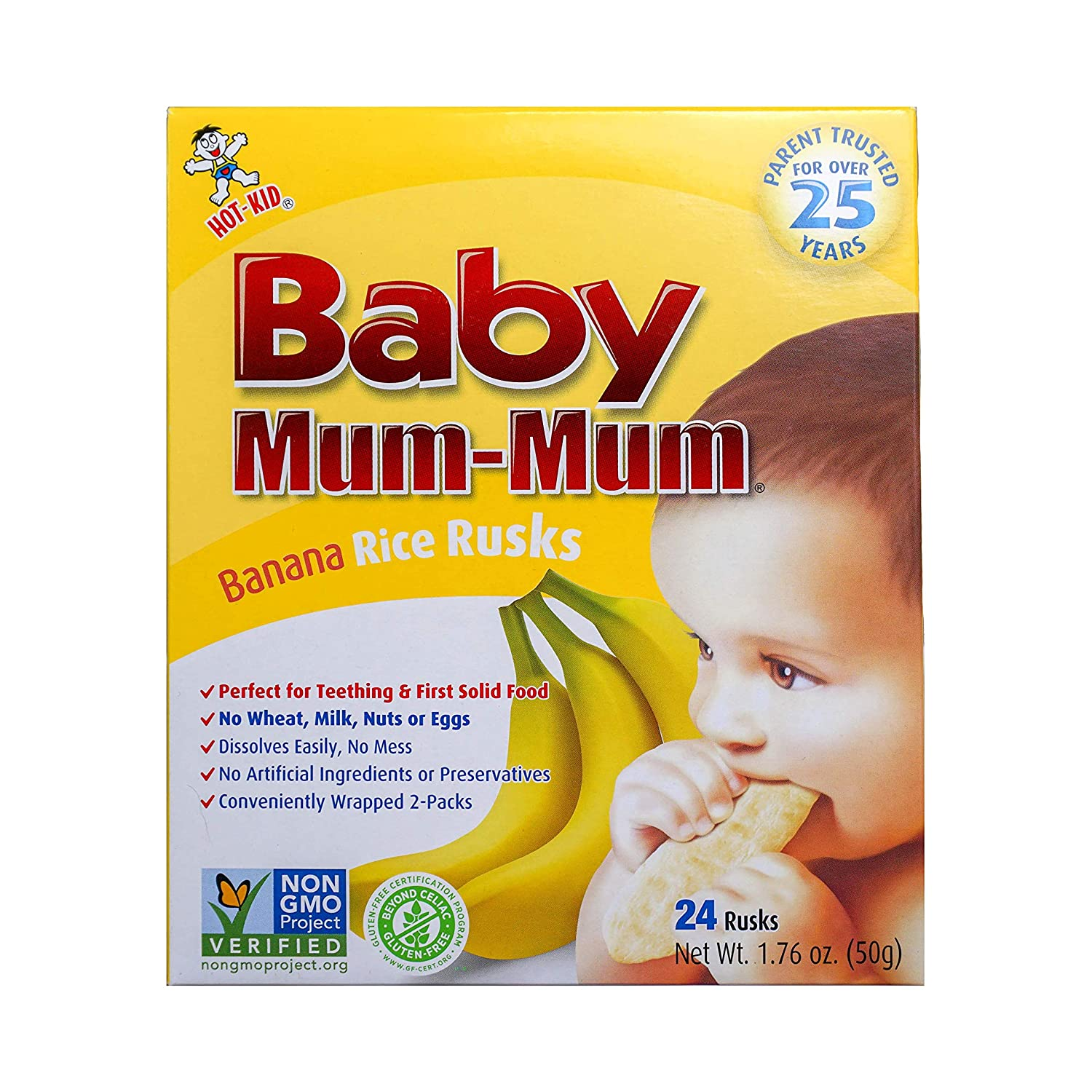 Hot-Kid Baby Mum-Mum Rice Rusks, Banana, Gluten Free, Allergen Free, Non-GMO, Rice Teether Cookie for Teething Infants, 1.76 Ounce, Pack of 6