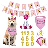 BANMODER Dog Happy Birthday Bandana Hat with 0-8 Figures Banner Set Dog Boy Girl Scarf Birthday Party Supplies…