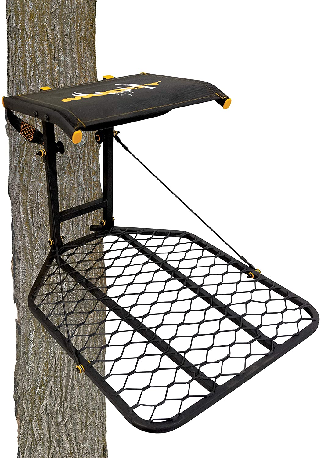 Muddy The Boss Hang-On Treestand- Silent Straps, Flex-Tek Comfort Seating, Extra Wide Platform, Black (MUD-MFP1080)