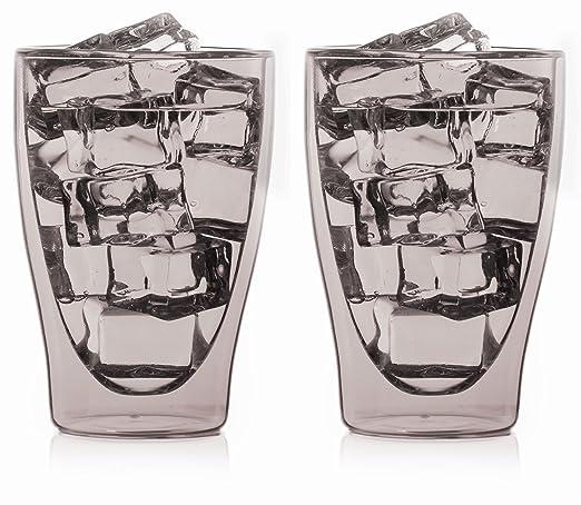 auch f/ür t/ürkischen Tee by Feelino bedida 2X 80ml graue doppelwandige Espresso-Gl/äser mit Thermo-Effekt