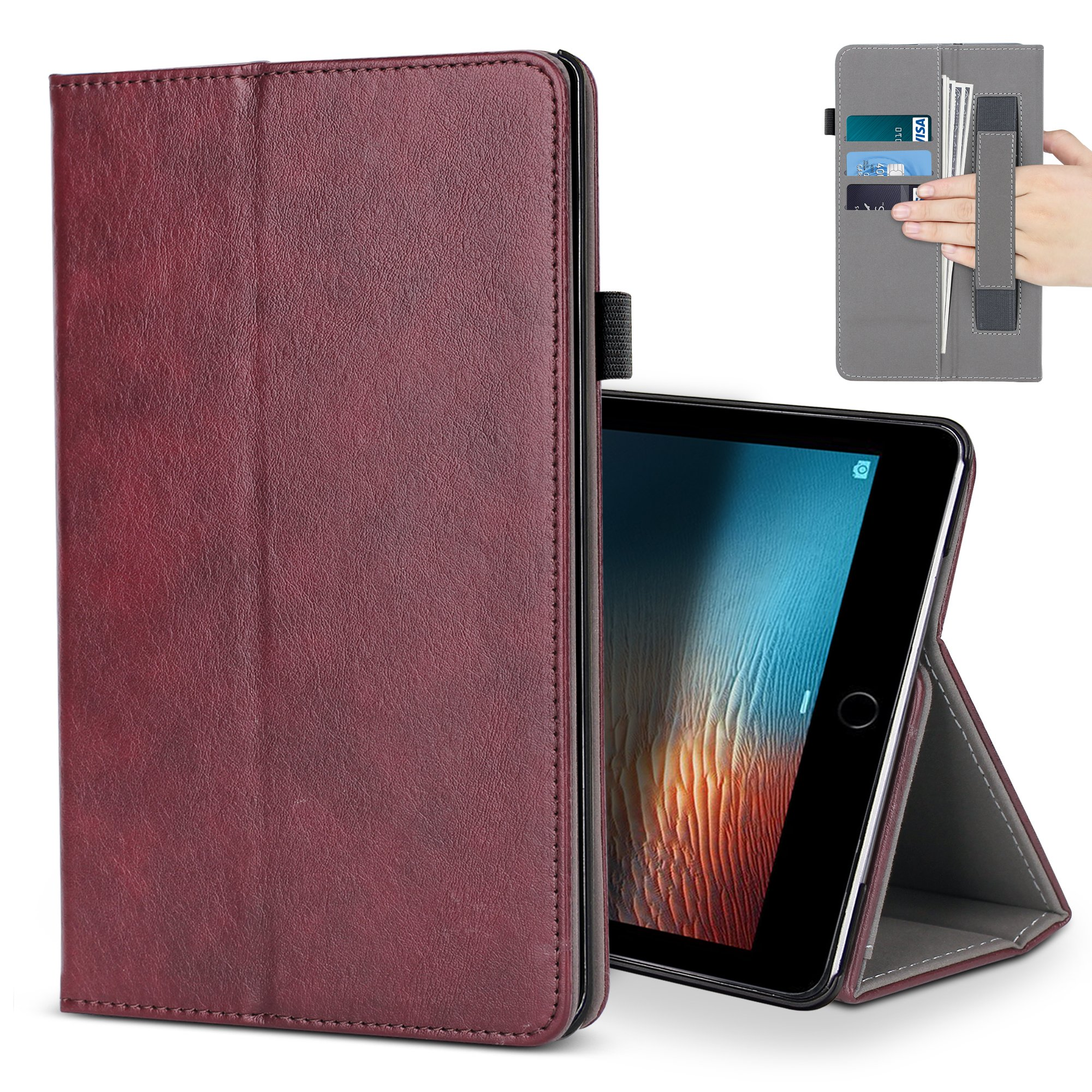 iPad Pro 12.9 Case,B BELK Premium Leather Multiple Viewing Stand Cover with Hand Strap, Auto Wake/Sleep Smart Folio Flip Card Holder for 2017 Release Apple iPad Pro 2 12.9 Inch (Red)