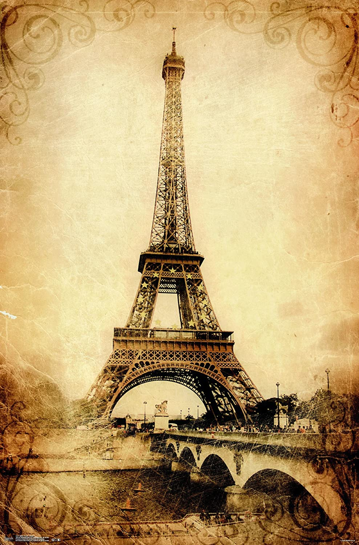 Amazon.com: Trends International Eiffel Tower Rustic Wall Poster ...