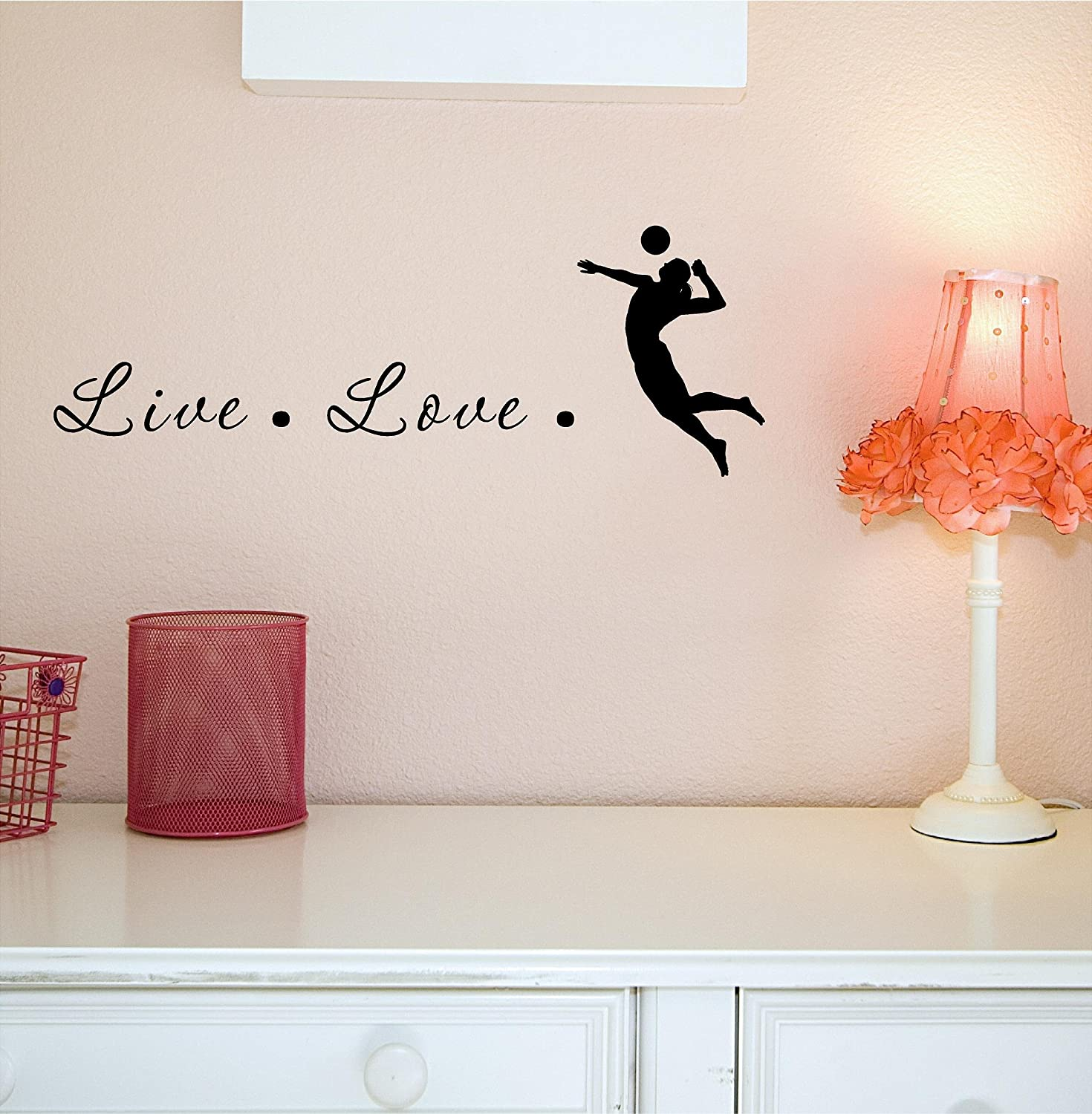 Amazoncom Live Love Volleyball Vinyl Decal Matte Black Decor - Vinyl volleyball wall decals