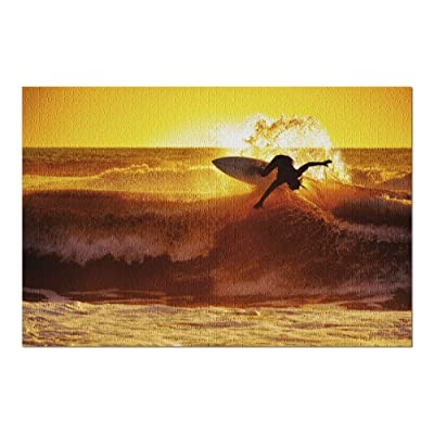Surfer on Wave at Sunset (Premium 1000 Piece Jigsaw Puzzle for Adults, 20x30, Made in USA!): Toys & Games
