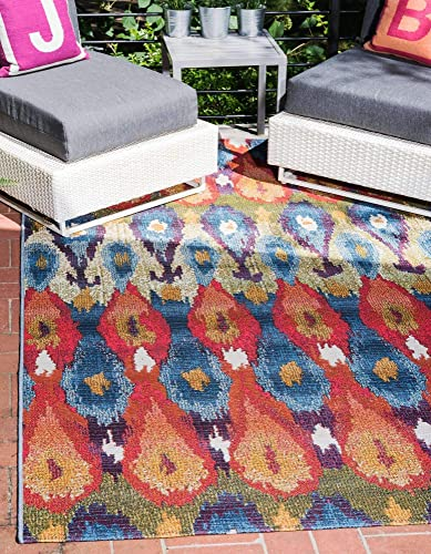 Unique Loom Outdoor Modern Collection Colorful Abstract Transitional Indoor and Outdoor Flatweave Multi Area Rug 8' 0 x 11' 4
