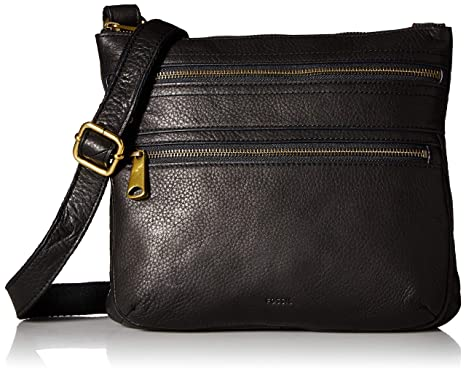 9823b2bbcc134b Fossil Explorer Leather Crossbody Bag, Black: Handbags: Amazon.com