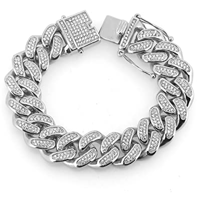 Joy and Rachel Stainless Steel 20mm 24 All Iced Out Simulated Diamond Miami Cuban Link Chain Necklace