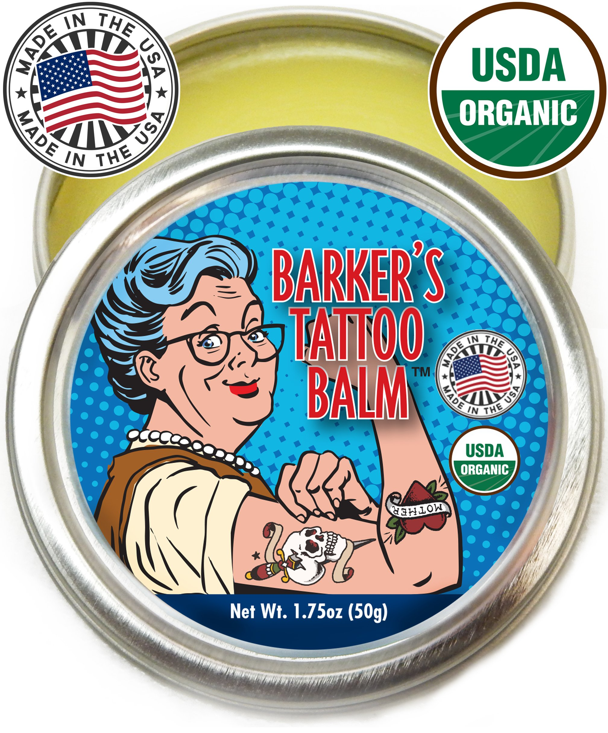 Organic Tattoo Aftercare Balm - 100% Natural, Made in USA, & USDA Certified Tat Salve to Moisturize, Protect, & Heal Skin by Barker's Tattoo Balm by Barker Goods
