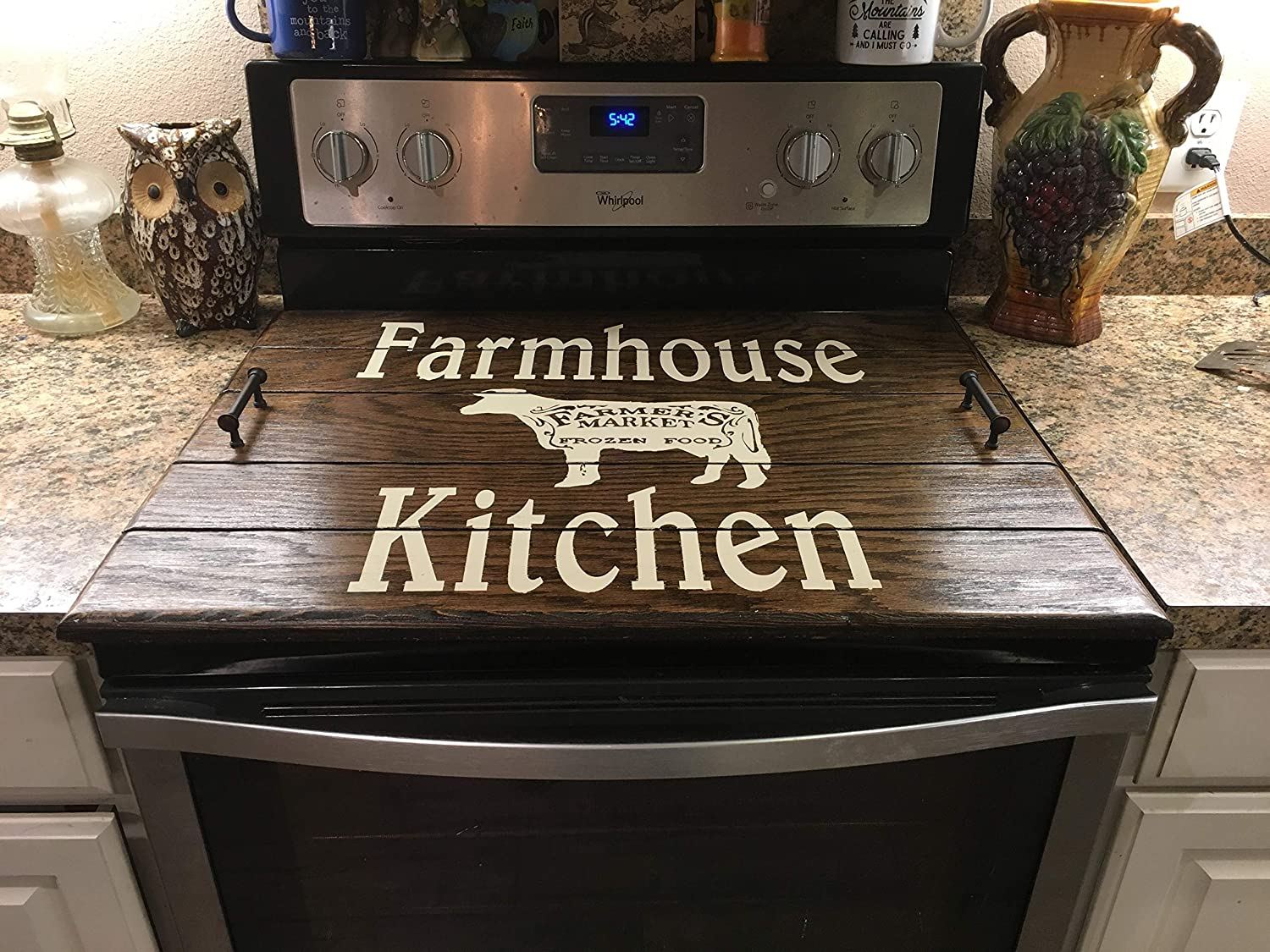 """Farmhouse Stove Top Wooden Cover 22/"""" x 30/"""" Various Colors"""