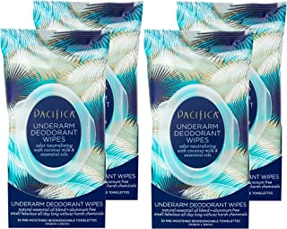 product image for Pacifica Beauty Underarm Deodorant Wipes, Coconut Milk & Essential Oils, Vegan & Cruelty Free, 30 Count (Pack of 4)