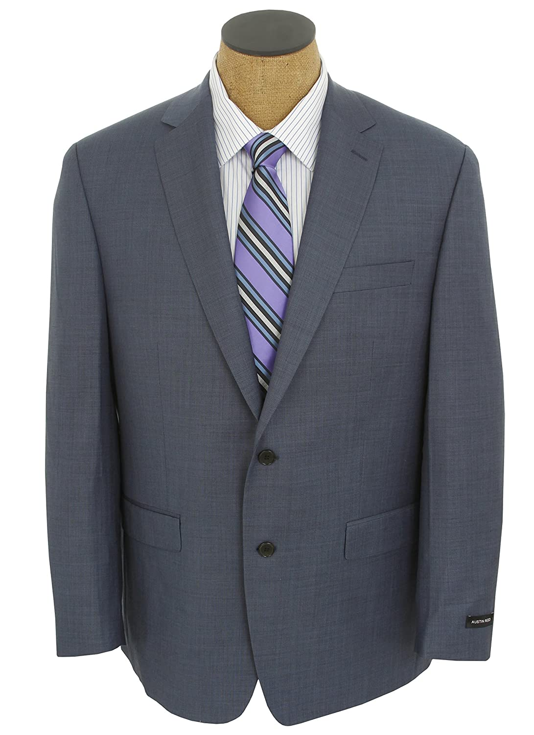 Buy Austin Reed Mens Solid Blue Wool Suit Size 50r At Amazon In