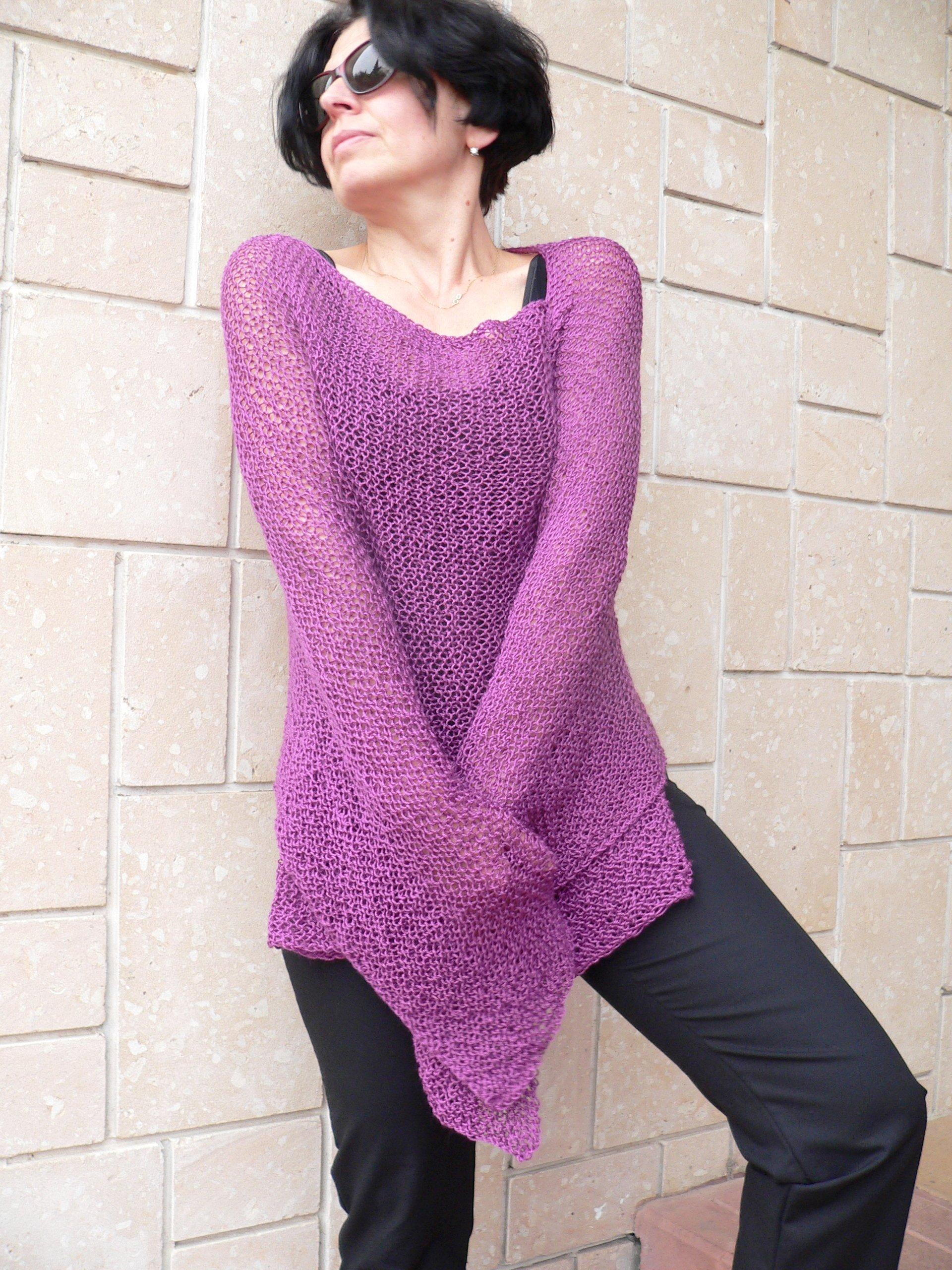 Purple merlo acrylic poncho #008A