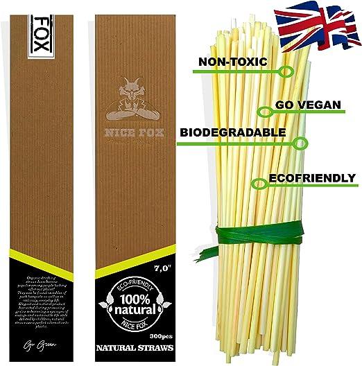 Pajitas de trigo natural orgánico de Nice Fox, 300 unidades de 18 ...