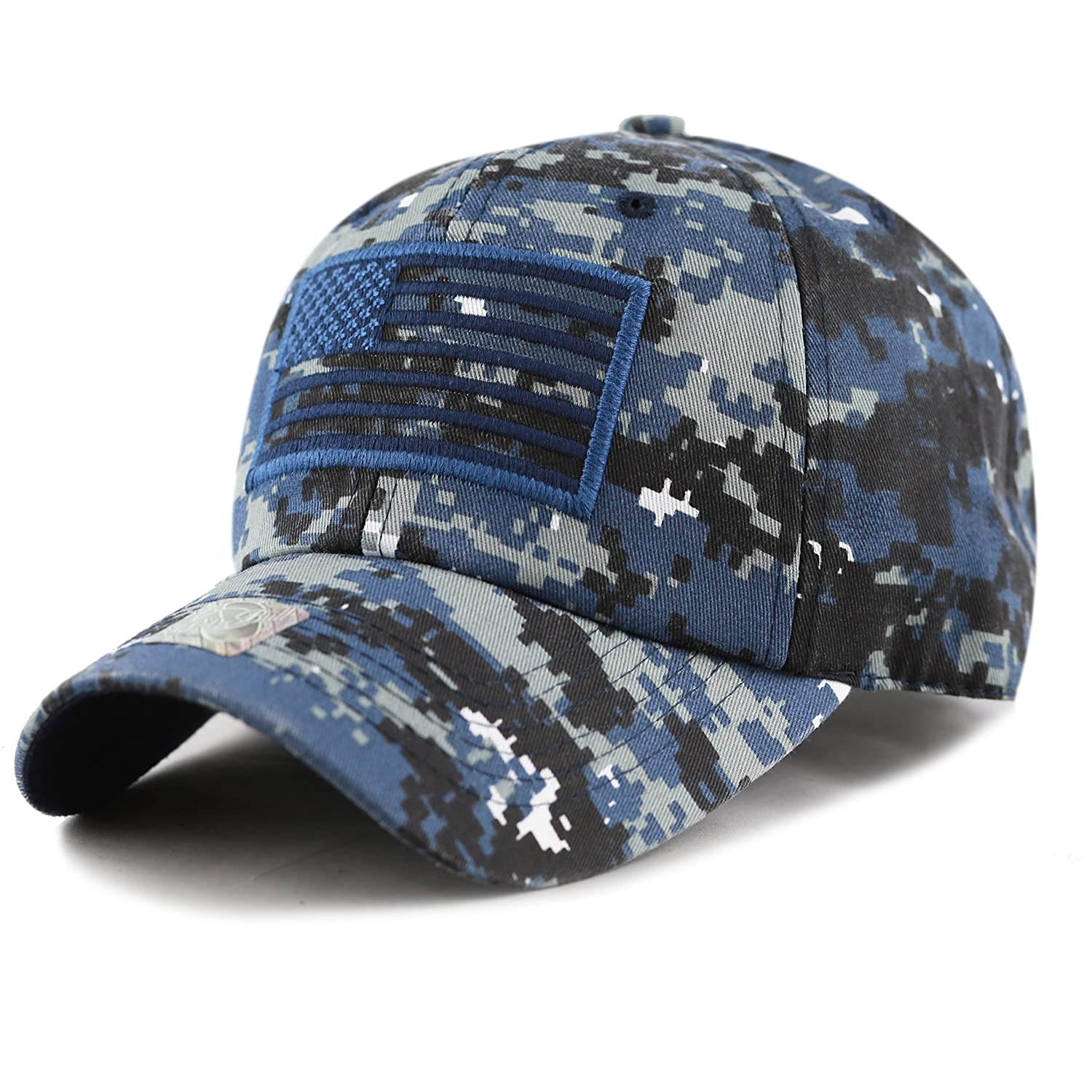 THE HAT DEPOT Tactical Operator USA Flag Cap 1100C-024-BK