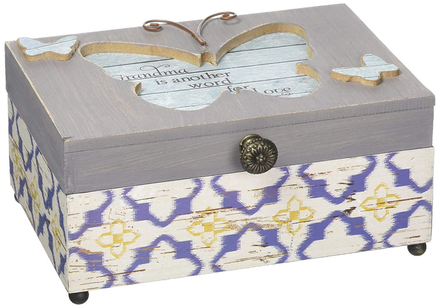 Simple Spirits Pavilion Gift Company 41099-Patterned Butterfly Grandma Wind Beneath My Wings Musical Jewelry Box