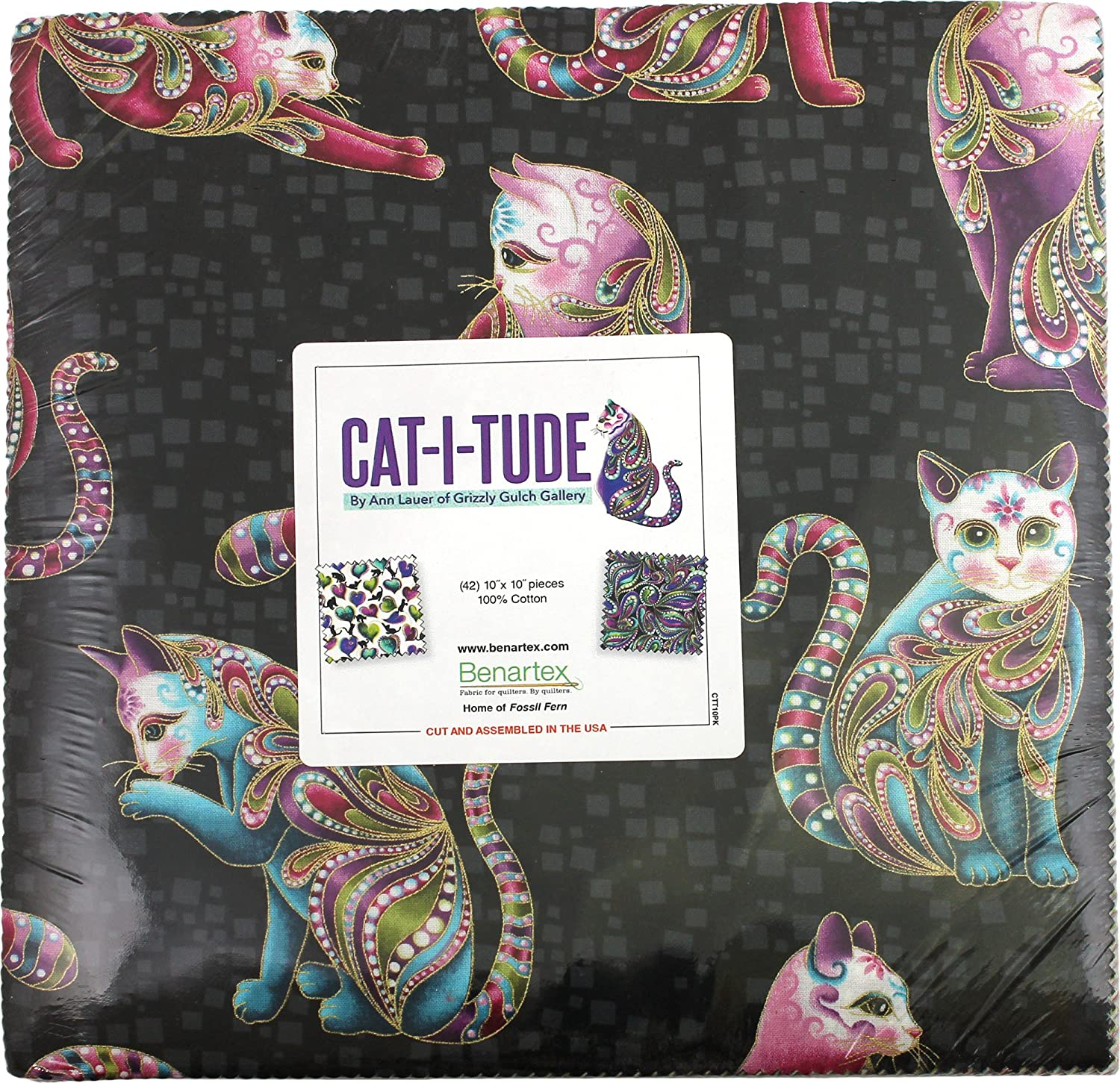 "Benartex CAT-I-TUDE by Ann Lauer, 10"" X 10"" Cotton Fabric for Sewing, Pack of 42 10-Inches Quilting Fabric Squares, Layer Cake, Assorted"