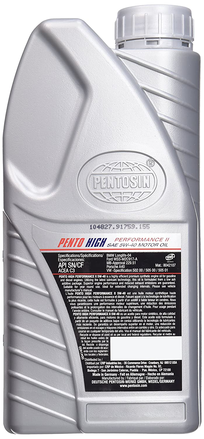 Amazon.com: Pentosin 8042107 Pento High Performance II 5W-40 Synthetic Motor Oil - 1 Liter: Automotive