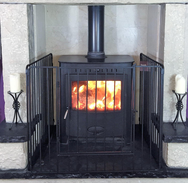 Pantalla protectora para estufa o chimenea con puerta delantera y barras verticales de alta calidad (76 cm de alto): Amazon.es: Hogar