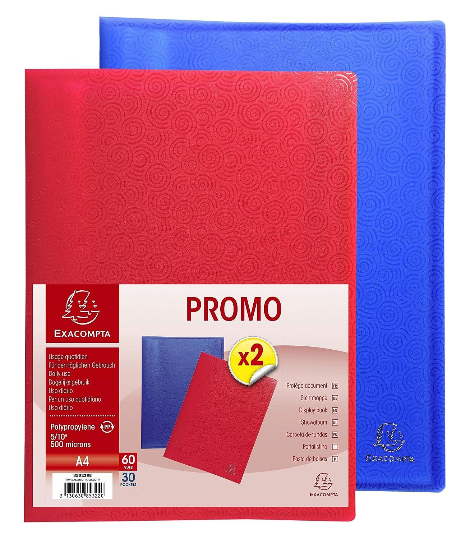Exacompta 85322SE - Lote de 2 carpetas de 30 fundas de polipropileno, multicolor: Amazon.es: Oficina y papelería