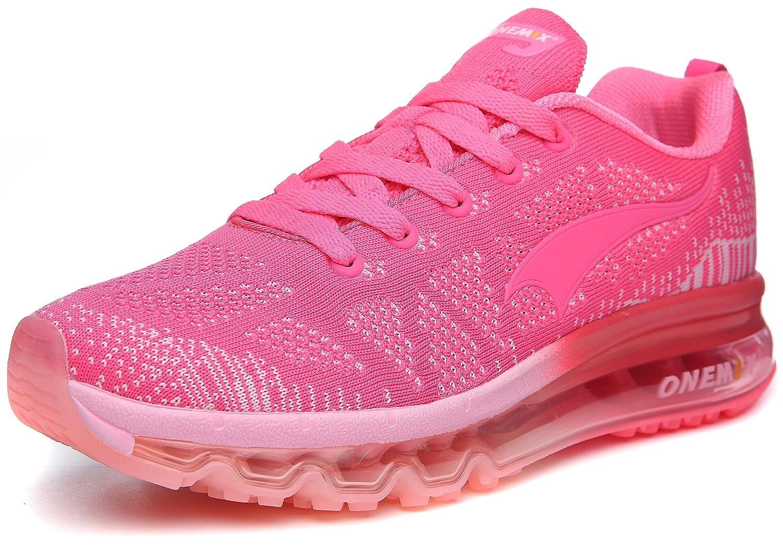 ONEMIX Womens Air Cushion Outdoor Sport Running Shoes Lightweight Casual Sneakers B0788LF2NP Men 6.5(M)US 39EU/Women 8(M)US 39EUR|Rose/Red