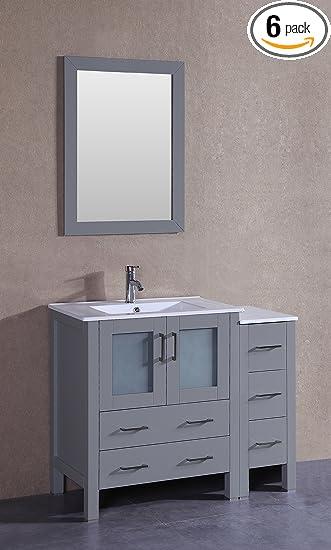 Bosconi Bathroom Vanities 42u0026quot; Classic Single Vanity With Integrated  Rectangular Sink, Countertop, Center