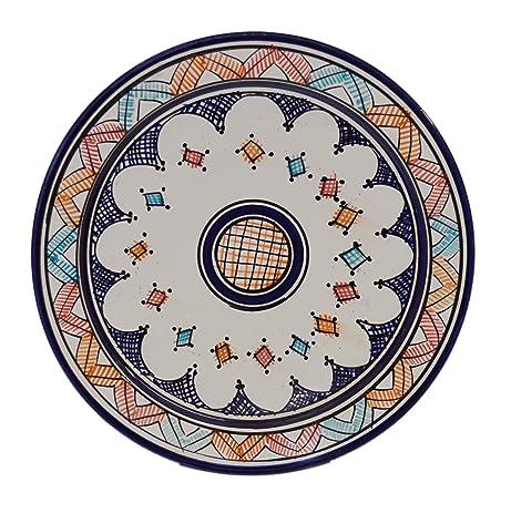 Ceramic Plates Moroccan Handmade Serving Wall Hanging Exquisite Colors Decorative Large 12 inches Diameter  sc 1 st  Amazon.com & Amazon.com | Ceramic Plates Moroccan Handmade Serving Wall Hanging ...